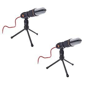 Wallzkey 2PCS Micro Wired filaire câble Microphone à condensateur avec l'étagère de support pour le Chat de chant karaoké PC portable noir