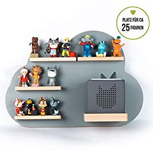 BOARTI Kinder Regal Wolke small in Grau – geeignet für die Toniebox und ca. 25 Tonies – zum Spielen und sammeln