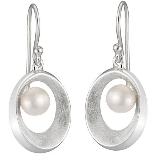 Vinani Ohrhänger offenes Oval gebürstet mit Süßwasserzuchtperle Sterling Silber 925 Perle Ohrringe OAGP