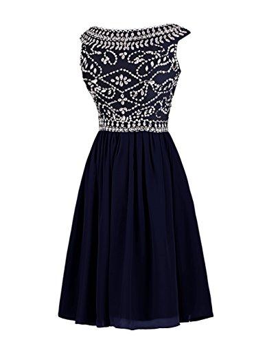 Dresstells,Robe de soirée de cocktail Robe courte de demoiselle d'honneur emperlée col rond sans manches Bleu Saphir