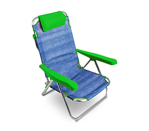 Media wave store spiaggina alluminio verde totalmente reclinabile onshore 379837 con braccioli cuscino