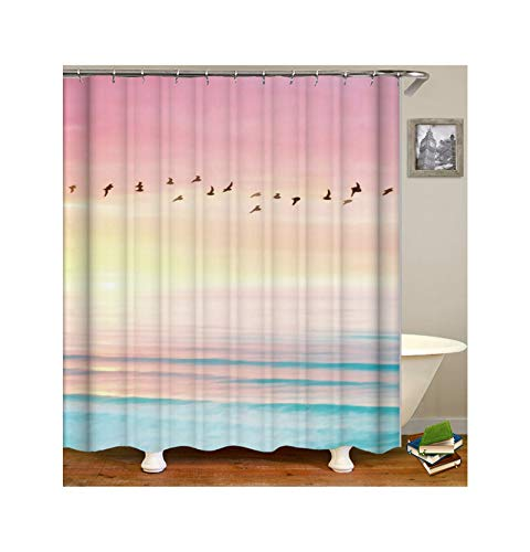 KnSam Duschvorhang Anti-Schimmel Wasserdicht Vorhänge An Badewanne Bad Vorhang für Badezimmer Seegänse 100{22cba241c8c650e3837d42984c038dc8bdebb32a87d76d2bd7581a3fb9fd776e} Polyester inkl. 12 Duschvorhangringen 120X180cm