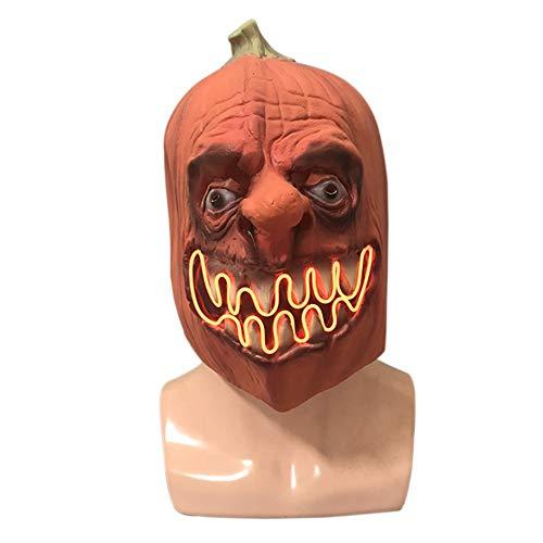 Autotipps Halloween Latex Maske Leuchten Latex Kürbiskopf Maske Dress Up Requisiten Festliche Party Supplies