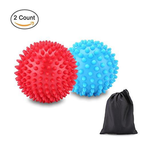 Scheam 2 PCS Palline da Massaggio Palline Massaggianti Spiky Ball, Media e Grande per Schiena, Piedi, Mani, Fitness 75 mm e 90 mm Blu Rosso