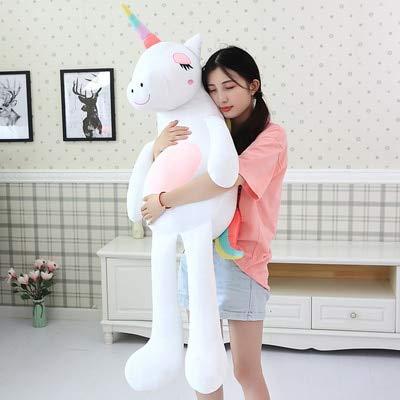 en Einhorn Plüsch Stofftier, kreative Daunen Baumwolle Einhorn Kissen, Kinderspielzeug, große Einhorn Puppe, weiß 110cm ()