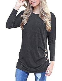 9fdba2d2b4eb Dricar Helury Langarm T Shirt Damen Pullover Lose Rundhals Mode-Knopf  Casual Frauen Tops Bluse