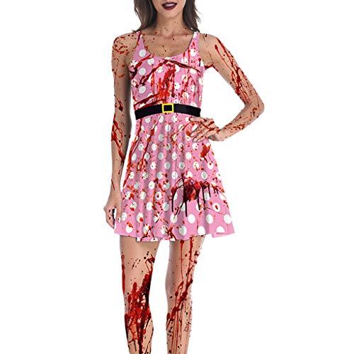 Zombie Kostüm Kleid Damen Halloween Cosplay Kleider Piebo Frauen Vintage Ärmelloses Minikleid Bodycon Dress Cocktail Bloodstain Drucken Oktoberfest Weihnachten Festliche Karneval Partykleid (Business Zombie Kostüm)