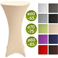 Beautissu Stella - Hermosa funda elástica para mesa bar bistro - Cobertura - Mantel de diseño - Ø 70-75cm - crema