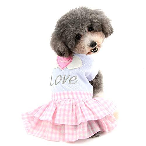 Ranphy Haustier-Kleid für Hunde, aus Baumwolle, süßes Herz-Flügel-Design, Sommerkleidung, mit ()