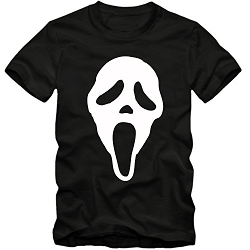 Herren T-Shirt SCREAM MASK Maske Movie Halloween Horror Fun Spass Tee S-4XL , Farbe:schwarz / weiss;Größe:L