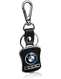 Iktu Key Chain For BMW Car Bike Black Leather Keychain Key Ring With Hook (BMW)