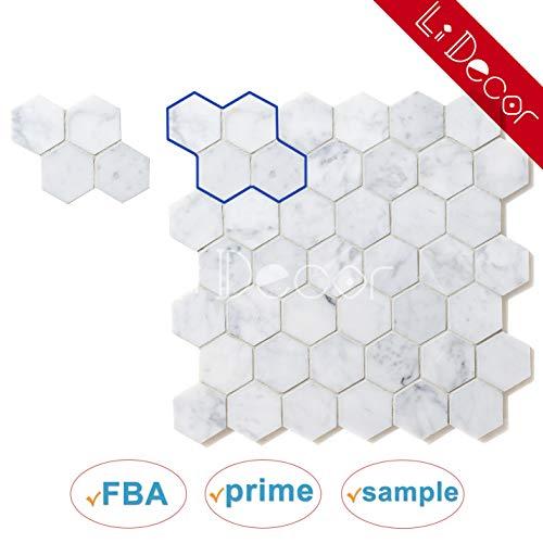 Italienische Carrara (Bianco Carrara) Marmor Mosaik Fliese 5,1cm Sechseck Muster geschliffen Probe-Verkauft von PC, weiß