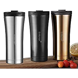 Enllonish Vacuum Insulated Travel Mugs | Reusable and Leak-Proof Coffee Tea Flask | Premium Quality Stainless Steel Mug 500 ML | Double Walled Vacuum Flask Thermo (B-Black)