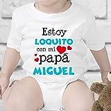 Regalo personalizado: body para bebé 'Estoy loquito con mi papá' personalizable con nombre