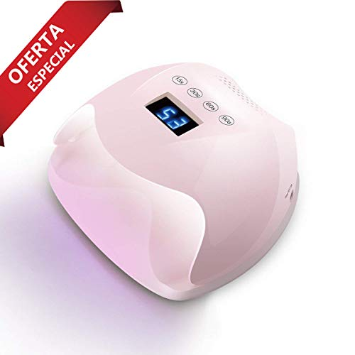 Ovonni 48W Lámpara LED UV Uñas profesional, Sensor automático incorporado, 4 Tipos de controles de tiempo, Esmaltes de Gel, Conveniente, Regalo, Viaje, Salón, Rosado