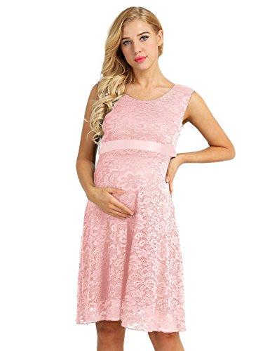 Agoky Damen Umstandskleid Festlich Spitzenkleid Maternity Schwangerschafts Kleid - Weich und Strech...