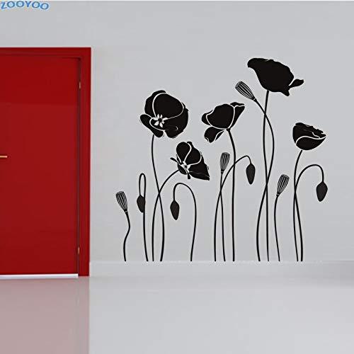 zlhcich Mohn Blume Wandaufkleber Steuern Dekor DIY Abnehmbare wasserdichte PVC Wandkunst Aufkleber Wohnzimmer 60 * 58 cm (Mohn Küche Dekor)