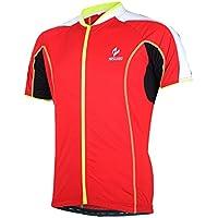 MaMaison007 Arsuxeo per bici bicicletta Top abbigliamento pantaloncini uomo maniche corte ciclismo Jersey Sportswear -L rosso