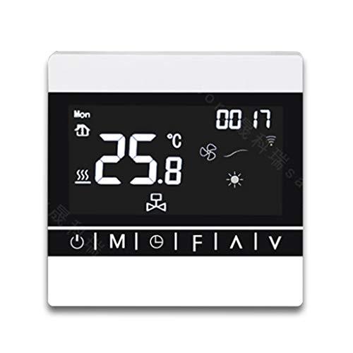 WiFi zentrale Klimaanlage Thermostat, Gebläsekonvektor Smart Thermostat Fernbedienung DREI Geschwindigkeit Einstellbar Echtzeit-Temperaturüberwachung Schwarz,White