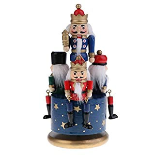 MagiDeal 20cm Classic Hand Painted Wooden Nutcracker Toy 4 Soldier Musical Box Home Christmas Decor Display Ornaments Kids Gift - Blue Base, as described