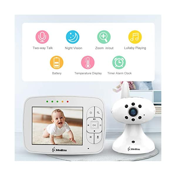 """MiniBoss Baby Monitor with Camera Video Audio Monitor 3.5"""" LCD Screen Temperature Sensor Night Vision Lullaby Two-Way Talk  【Wireless & Secure Connection】The baby monitor equipped with 2.4GHz digital frequency provides security and interference-free connection without any network access. 【Upgraded Camera & VOX Function】The video baby monitor offer high definition and stable audio video streaming to last 7 hours per fully charged. It covers a long distance transmission range of up to 960 feet, and expandable up to 4 cameras for simultaneous monitoring. 【Two-way Talk & Lullabies】The audio baby monitor has advanced built-in microphone and speaker for clear two-way audio conversations between the wireless monitor and camera sides. Allows you to talk back promptly or play lullabies to soothe baby when she is crying. 3"""