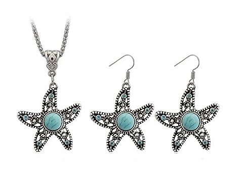 Dames Créatif Turquoise étoile de mer diamant Collier +1 paire de boucles d'oreilles Ensembles de bijoux