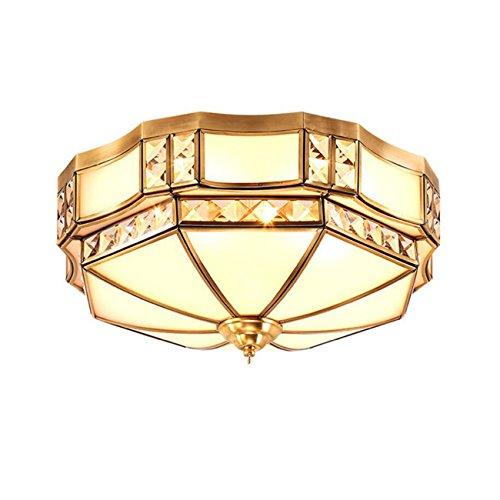 DSYLD Moderne/Zeitgenössische Unterputz-Deckenleuchte Regenschirm Runde geformte Deckenleuchte Glas Kupfer 3 Farbwechsel Deckenleuchte für Schlafzimmer Wohnzimmer Studie Hotel (Φ60cm * 25cm)