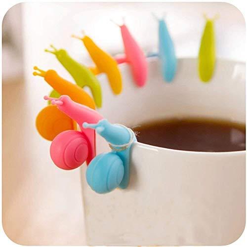 Hängende Teebeutel neue nette bunte Schnecken Form Silikon Halter Schalen Becher Süßigkeit Farben Geschenk Satz 24pcs (24 pcs)