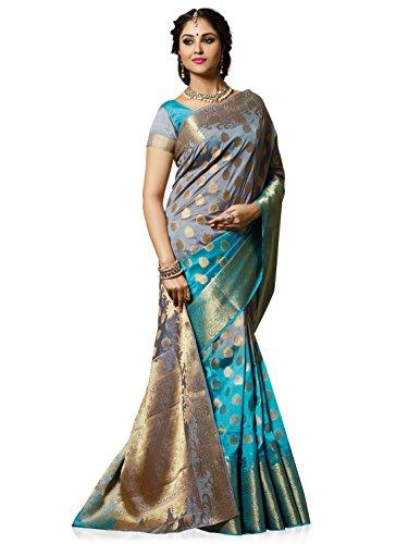 Meghdoot Artificial Tussar Silk Saree (SIYAA_MT1272_GREYxFIROZI Woven Grey and Turquoise Colour Sari)