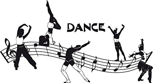 GRAZDesign Tanzen Geschenk Musik Noten mit Tänzer - Wandtattoo Jugendliche Tanzschule - Wandtattoo Kinderzimmer Mädchen Jungen Tanzen Aufkleber / 92x50cm / 070 schwarz