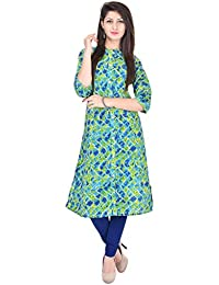 Palakh Women's Cotton Straight Printed Kurti(Multicolor)