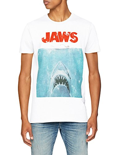 Jaws Men's 70s Movie Poster T-Shirt, White