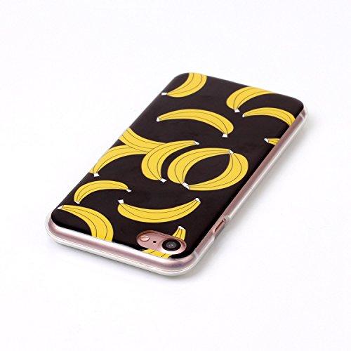 BONROY® Coque pour iPhone 7 Plus (5,5 Zoll),Housse en cuir pour iPhone 7 Plus (5,5 Zoll),imprimé étui en cuir PU Cuir Flip Magnétique Portefeuille Etui Housse de Protection Coque Étui Case Cover avec  bananes