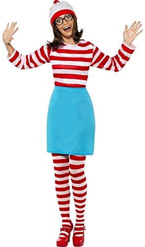 Familie Herren Damen Jungen Mädchen Kinder wo Ist Wally Waldo Wenda Büchertag Paar Halloween Prty Kostüm Verkleidung Outfit - Damen, UK 16-18 (Wo Ist Wally Kostüm Damen)