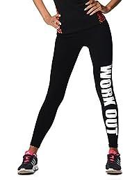 EloModa® Leggings WORK OUT Sporthose Baumwolle schwarz Gr. S M L XL XXL 3XL, p925