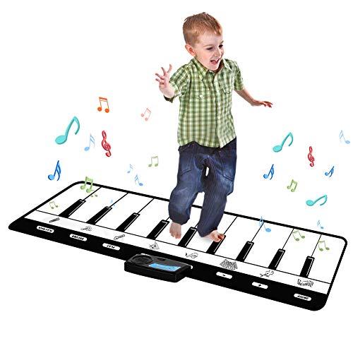 Wangofun tappetino per pianoforte gigante, tastiera da pavimento con modalità play, record, playback e demo, tappetino per pianoforte per bambini, tappetino per tastiera
