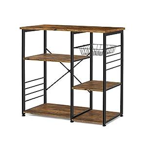 EPHEX Küchenregal Standregal im Industrie-Design, Platzsparendes Mikrowellenregal mit Gestell und Drahtkorb, Vintage Braun, Küchenregale Standregal, 90 x 42,5 x 84 cm (B x T x H)