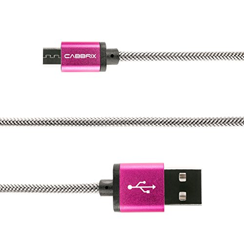 Micro USB Kabel CABBRIX Nylon 2,4 A [Schnellladekabel] High Speed Sync/Ladekabel 1,5m / 2m / 3m (1x 1,5m, Pink)