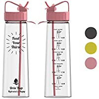 BPA Free Water Bottle, Drin'Kup 900ml/32oz Sports Water Bottle with Straw, Motivational Time Markings Hydration Tracker, No Leak, Durable Tritan Plastic, Cycling Water Bottles Plastic drinks bottle, eco-friendly, fitness, yoga, outdoors and camping