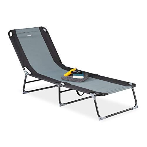 Relaxdays Gartenliege, 5-stufig verstellbar, klappbare Dreibeinliege für Garten oder Camping, bis 113 kg, schwarz-grau