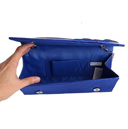 Dairyshop Borsa della borsa del cocktail di cerimonia nuziale della borsa della frizione delle donne di cristallo pieghettate (Royal Blue) Royal Blue
