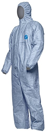 100 Pcs. DuPont Tyvek 500 Xpert | Chemical Protective Clothing with Hood, Category III, Type 5-B and 6-B | Robust yet Lightweight | Blue | Size XXL