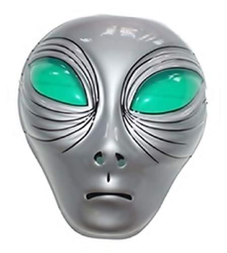 Widmann Maske für Kostüm - Verkleidung - Karneval - Halloween - Alien - Extraterrestre - Farbe Grau - Erwachsene - Mann - Junge (Grüne Alien Kostüm Für Erwachsene)