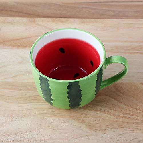 ZJH Obst Tasse, kreative Keramik Milch Müsli mit Henkel Tasse 400ML Keramik Becher Wassermelone Melone Form süß Frühstücksflocken Milch Tasse,A