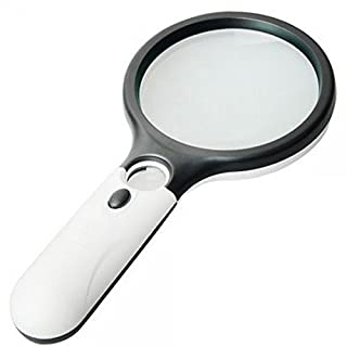 Allbusky Magnifier 3 LED Light 3X 15X Handheld Mini Pocket Microscope Reading Magnifying Glass Lens Jewelry Loupe (Black & White)