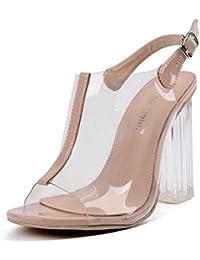 GLTER Mujeres Ankle Strap Bombas Jelly Shoes Sandalias Con Encanto Exposed Toe Cristal Tacones De Alta Transparente Grueso Con Zapatos Femeninos Peep Toe Zapatos Corte Zapatos , apricot , 35