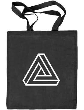 Shirtstreet24, Unmögliches Dreieck Outline, Tribar Natur Stoffbeutel Jute Tasche (ONE SIZE)