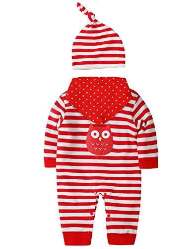 sanmio neugeborenes baby jungen mädchen kleidung strampler bekleidungssets baumwolle langarm baby outfits infant streifen jumpsuits (3-6 Monate, Rot)
