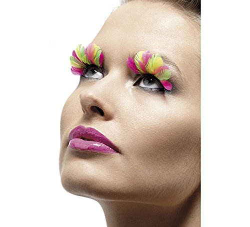 Smiffy's - Faux cils plumes multicolores + colle