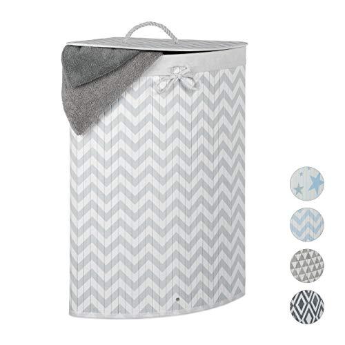 Relaxdays cesto in bambù portabiancheria, pieghevole con coperchio, 60 l, motivo a zigzag, 65,5x49,5x37cm, bianco-grigio